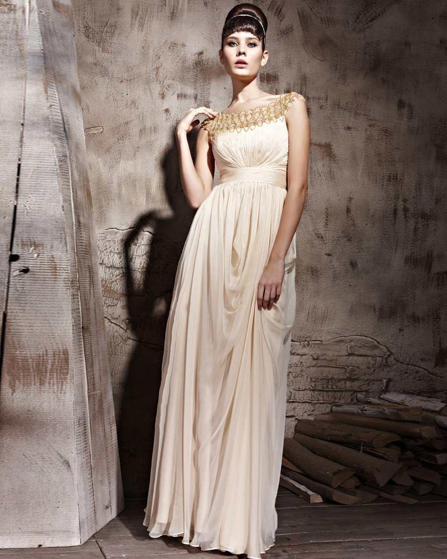 Floor Length Scoop Zipper Sleeveless Tencel Evening Dresses