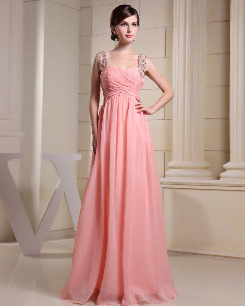 Fashion Chiffon Charmeuse Silk Beaded Pleated Straps Floor Length Sleeveless Women Evening Dress