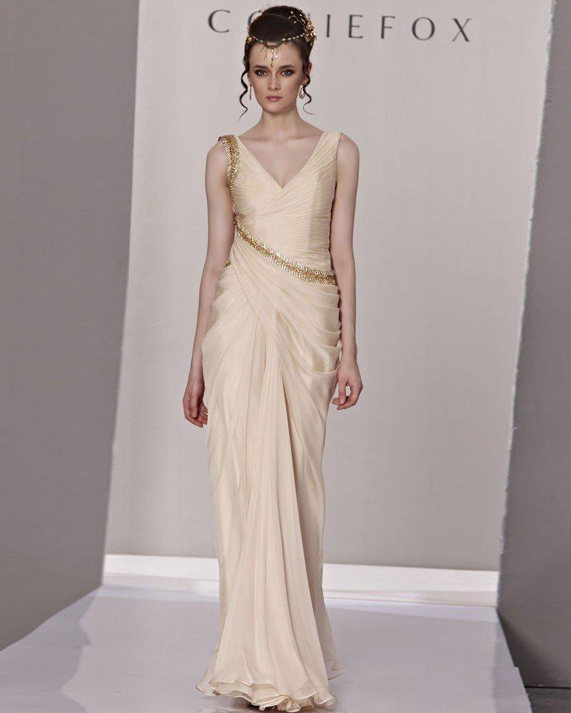 V Neck Ruffle Beading Sleeveless Zipper Floor Length Tencel Woman Evening Dress