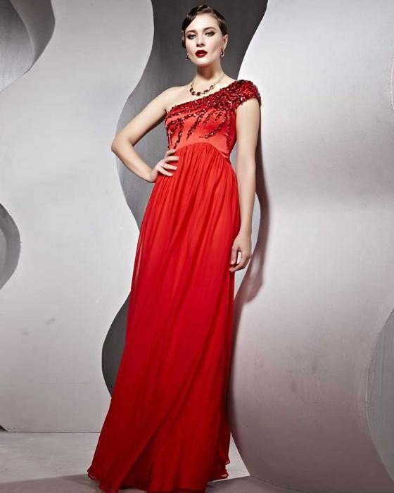 Silk Ruffle Sloping Floor Length Evening Dresses
