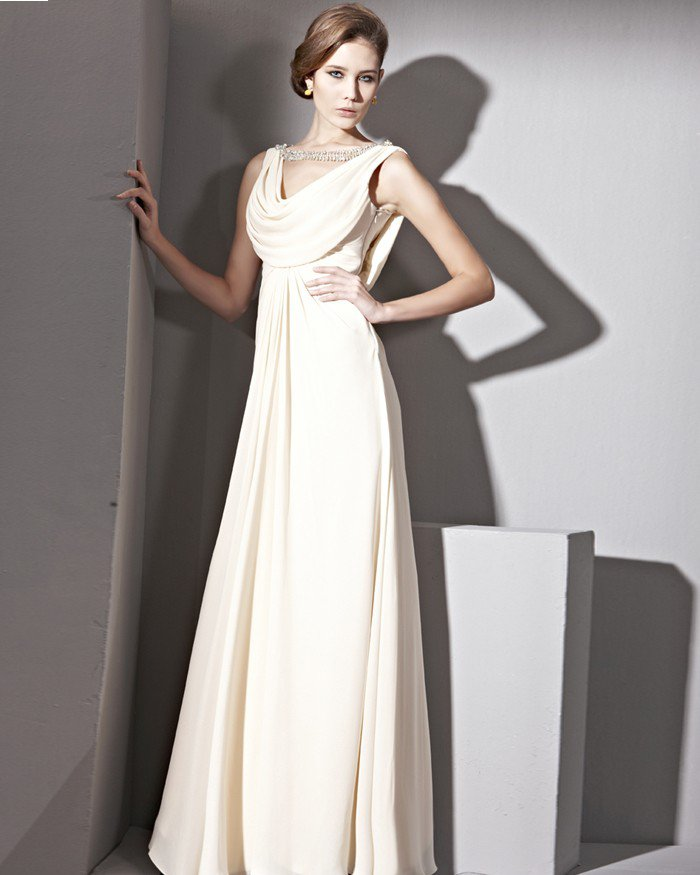 Floor Length V-Neck Sleeveless Silk Satin Collect Waist Evening Dresses
