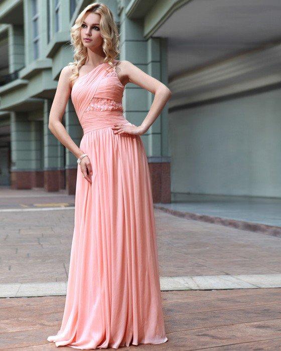 Silk One Shoulder Rhinestone Pleated Floor Length Evening Dresses
