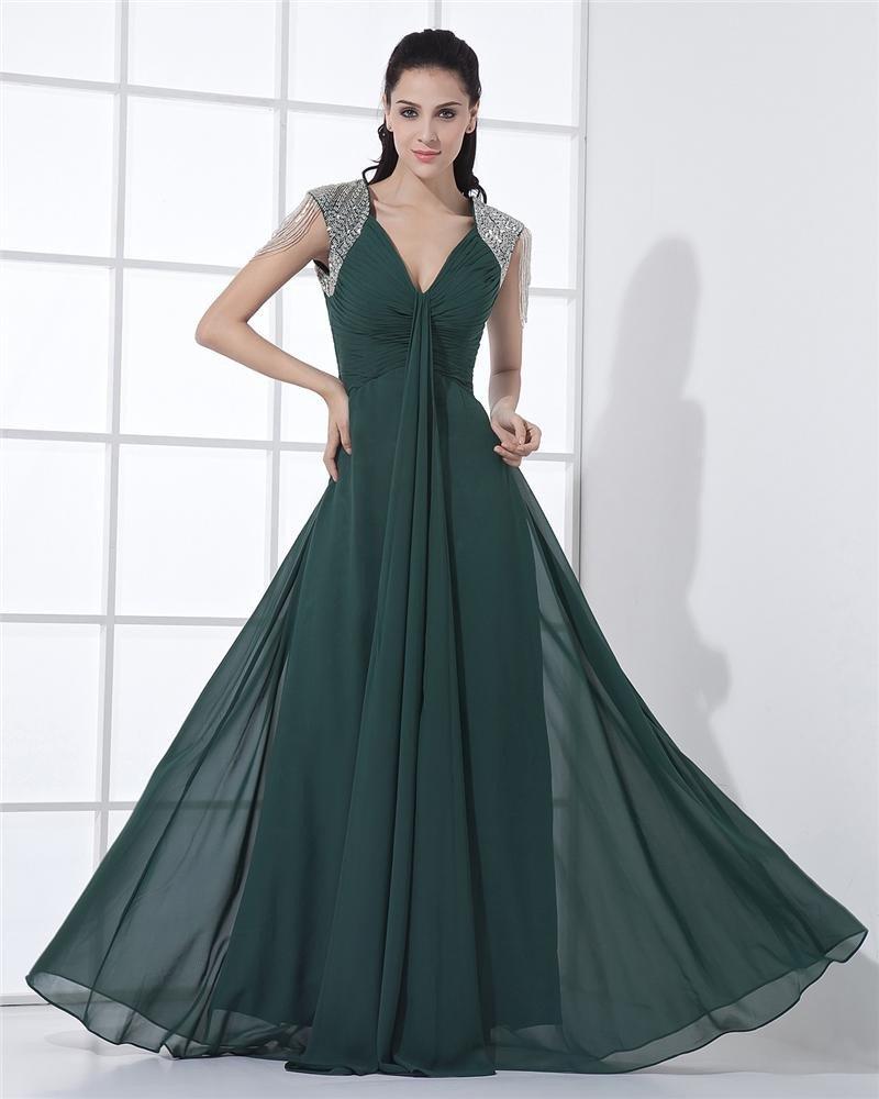 Chiffon Ruffle Beadings Portrait V Neck Sleeveless Zipper Floor Length Pleated Celebrity Dress