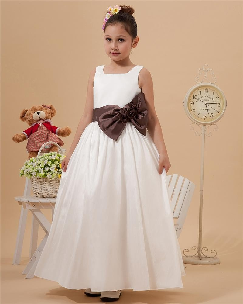 Taffeta Jewel Floor Length Flower Decoration Girl Dresses 2214120072