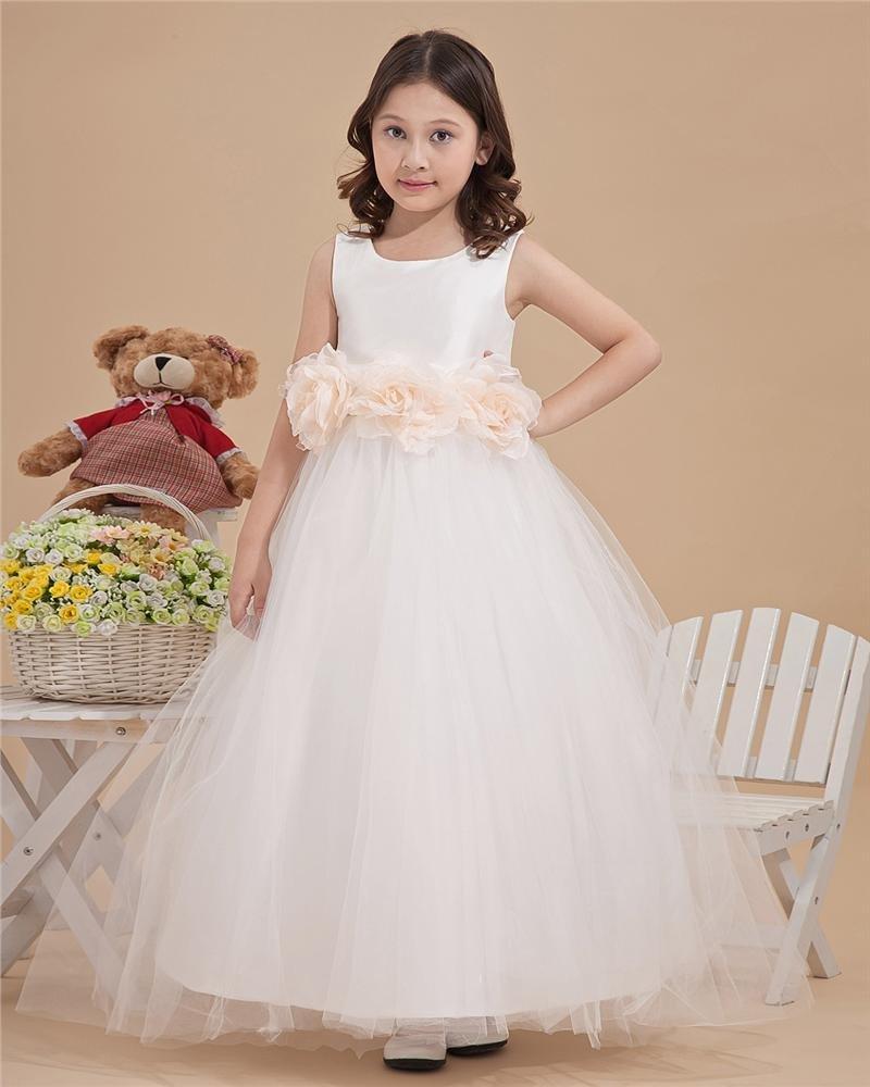 Tulle Pleated Hand Flower Floor Length Flower Girl Dresses 2214120078
