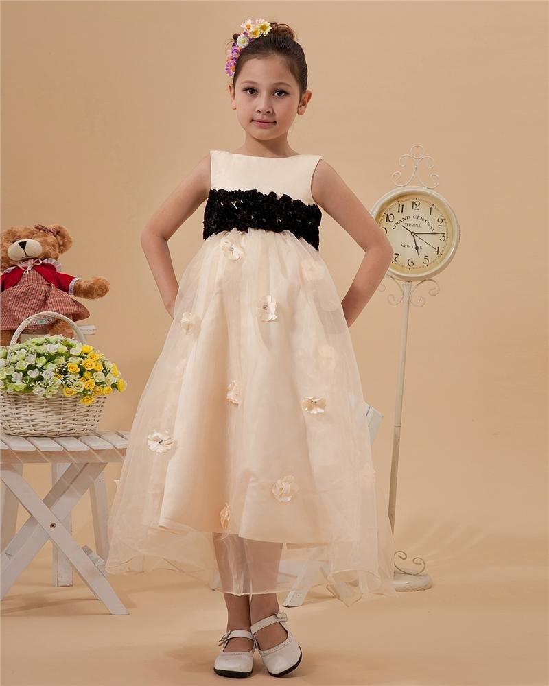 Fashion Jewel Tea-Length Organza Satin Flower Girl's Dress 2214120026