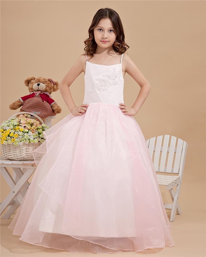 Beautiful Applique Beading Spaghetti Straps Floor Length Taffeta Organza Flower Girl Dresses 2214120