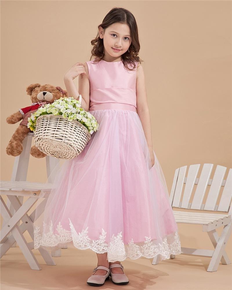 Satin Mesh Embroidery Bowtie Round Neck Flower Girl Dresses 2214120048