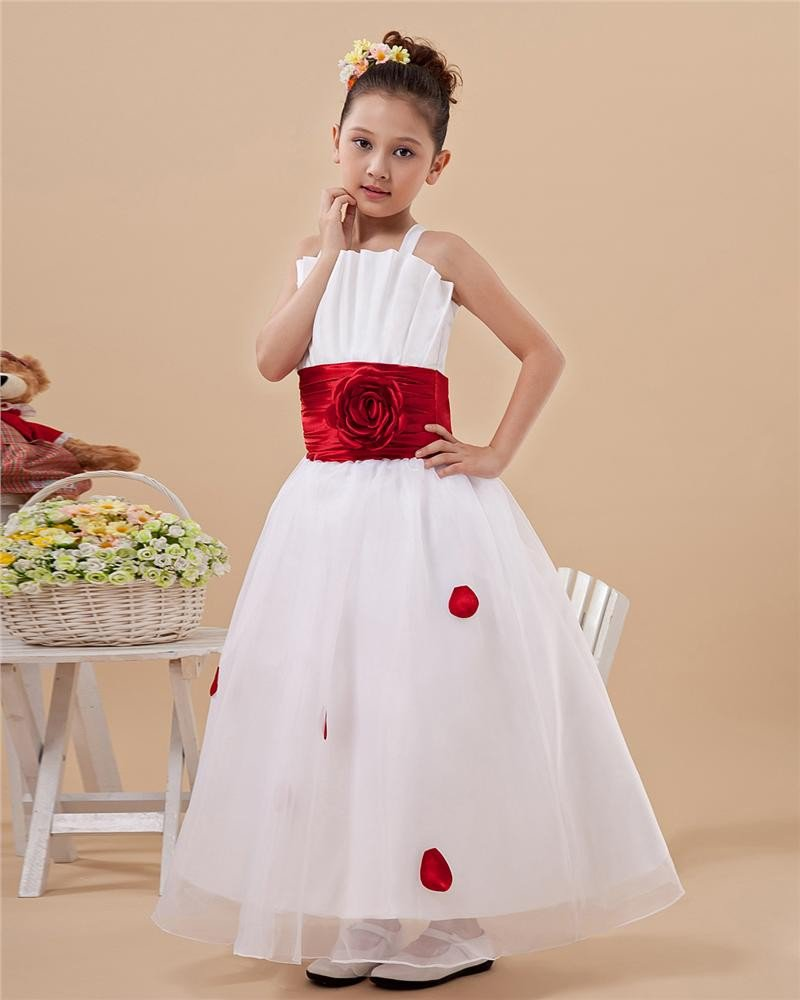 Cute Shoulder Straps Ribbon Flower Girls Dress 2214120023