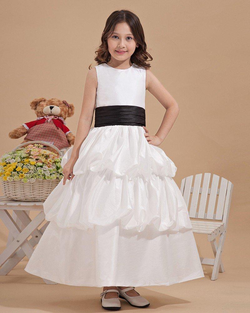 Fashion Satin Bowknot Belt Handmade Flower Girl Dresses 2214120028