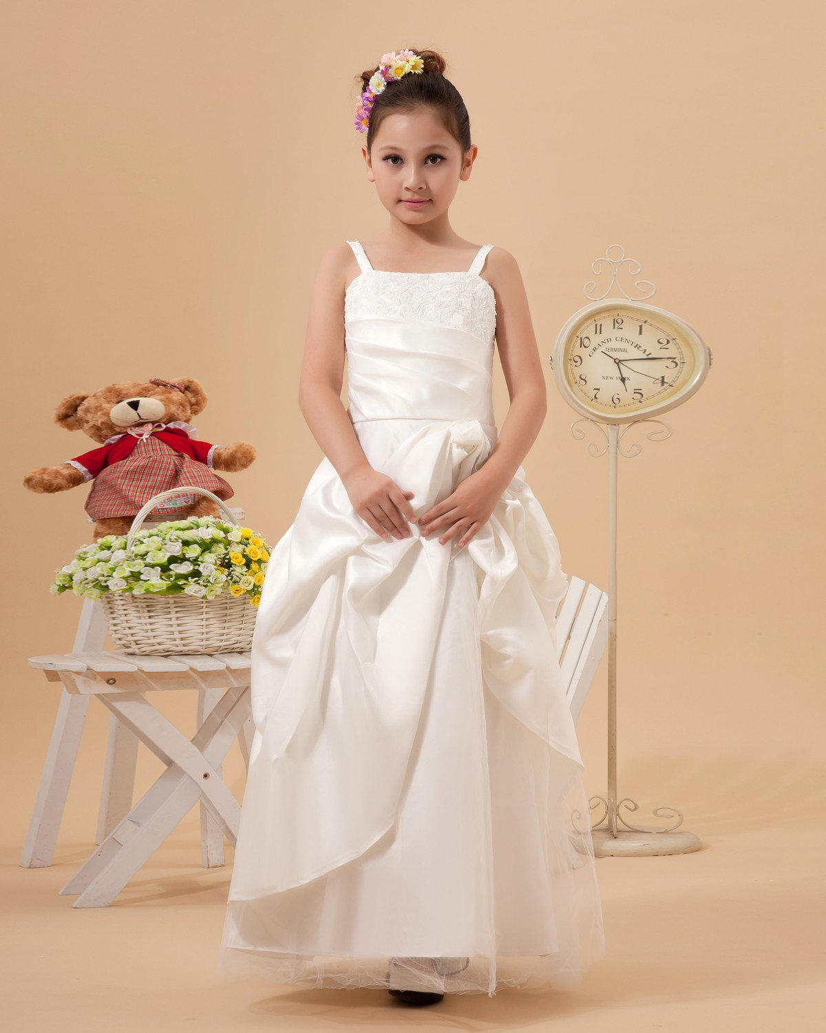 Cute A-Line Spaghetti Straps Ankle Length Satin Flower Girl Dresses 2214120017