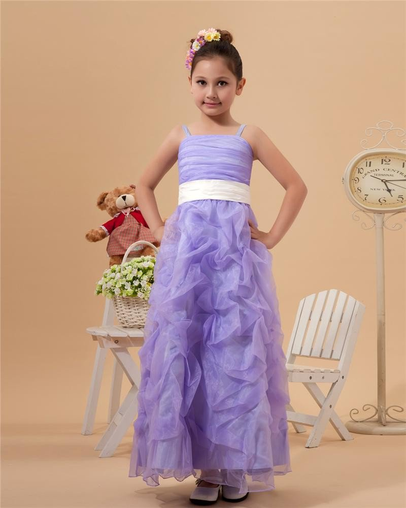 Cute Ball Gown Spaghetti Straps Ankle-Length Satin Organza Applique Beading Flower Girl Dress 221412