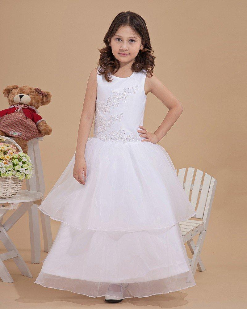 Satin Tulle Bead Embellishment Flower Girl Dresses 2214120064
