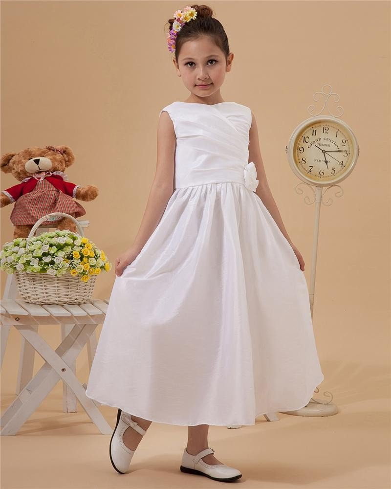 V-Neck Ruffle Taffeta Flower Girl Dress 2214120079