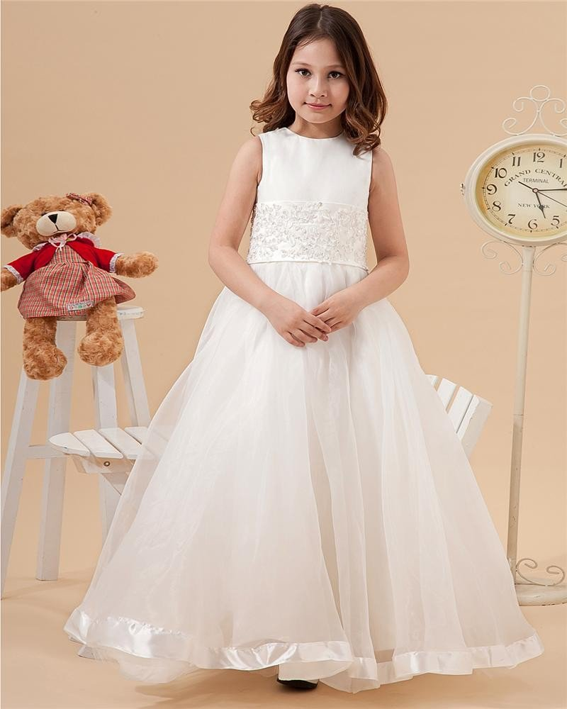 Satin Organza Round Neck Flower Girl Dresses 2214120051