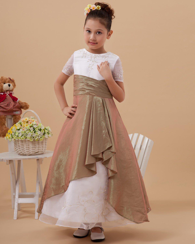 Taffeta Organza Short Sleeve Floor Length Flower Girl Dresses 2214120076