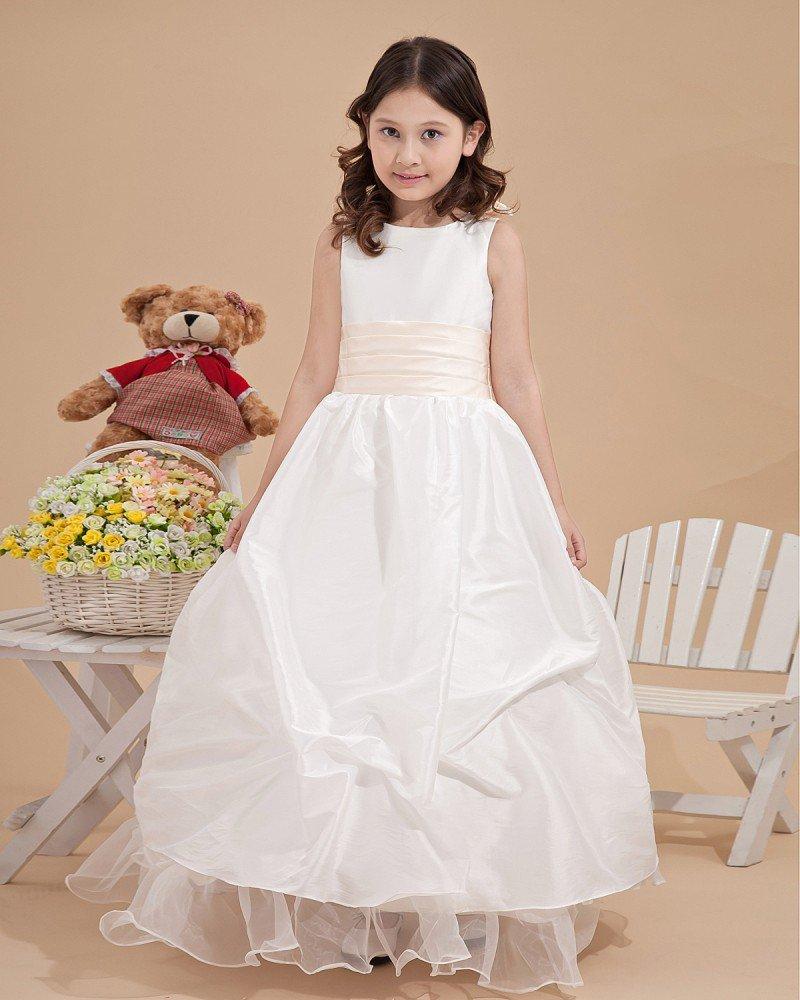 Lovely Satin Ankle-Length Appliques Flower Girl Dresses 2214120034