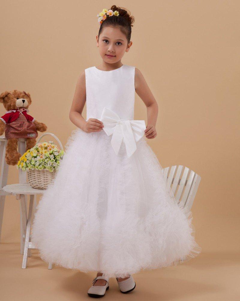 Satin Tulle Flower Girl Dresses 2214120065