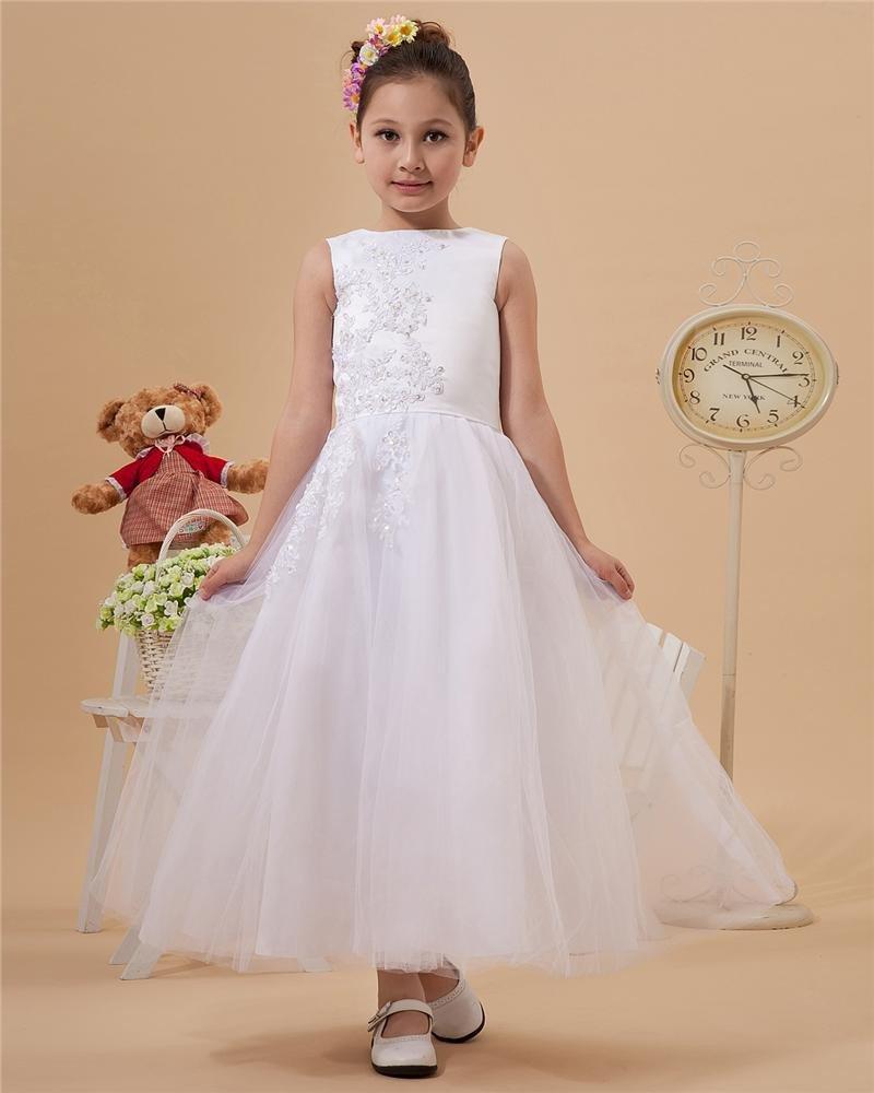 Yarn Ruffles Round Neck Floor Length Flower Girl Dresses 2214120081
