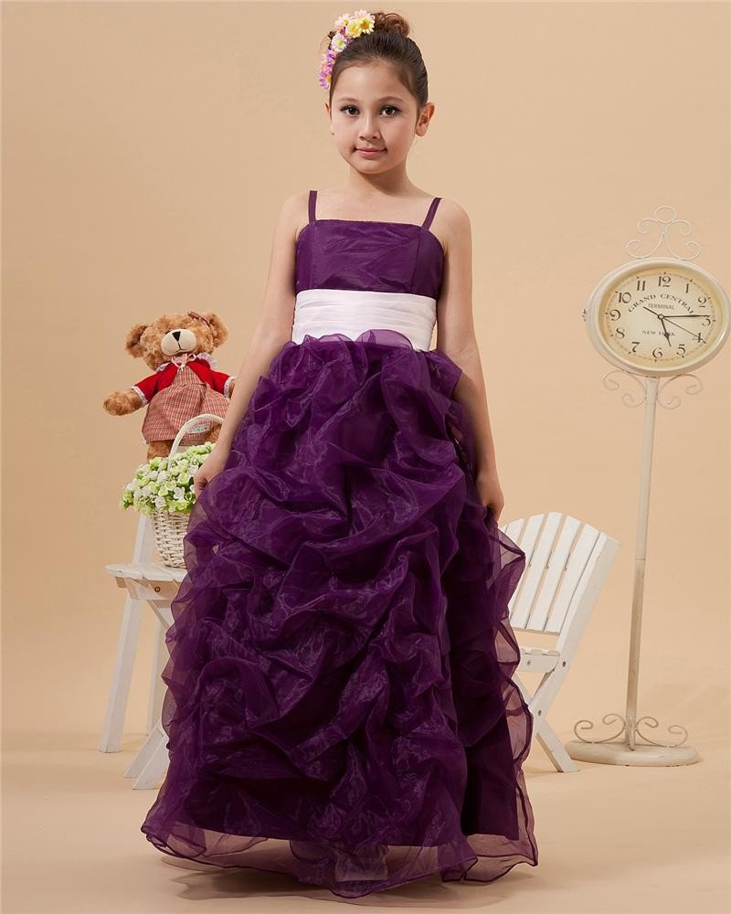Cute Bead Jewel Ankle-Length Satin Organza Ball Gown Flower Girl Dress 2214120019