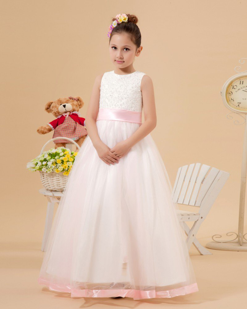 Organza Ruffle Sash Flower Girl Dresses 2214120039
