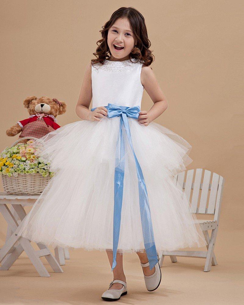 Lovely Yarn Satin Ankle-Length Beading Flower Girl Dresses 2214120037
