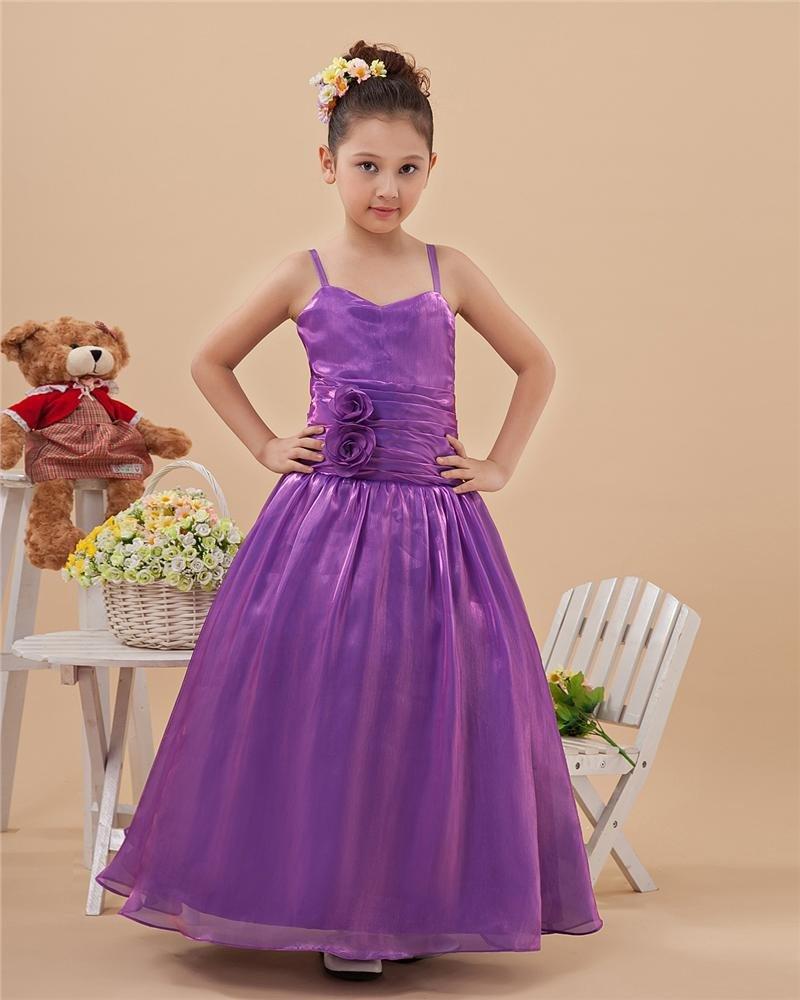 Glamorous A-Line Spaghetti Straps Floor-Length Taffeta Flower Girl Dresses 2214120030