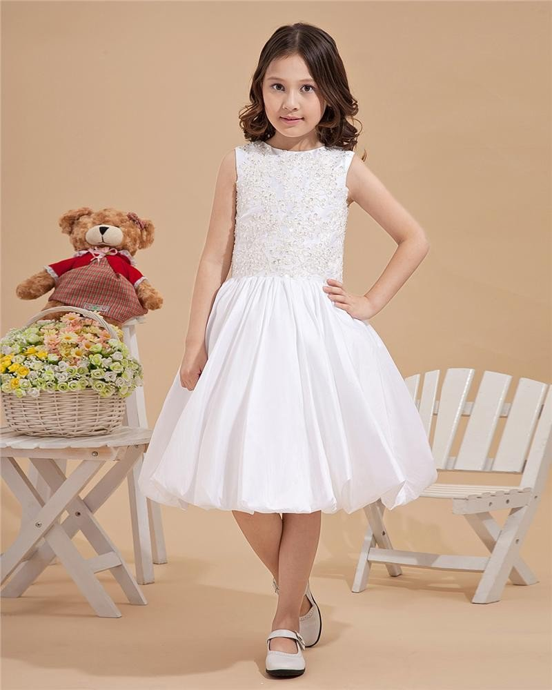 Round Neck Embroidery Beaded Taffeta Flower Girl Dresses 2214120045