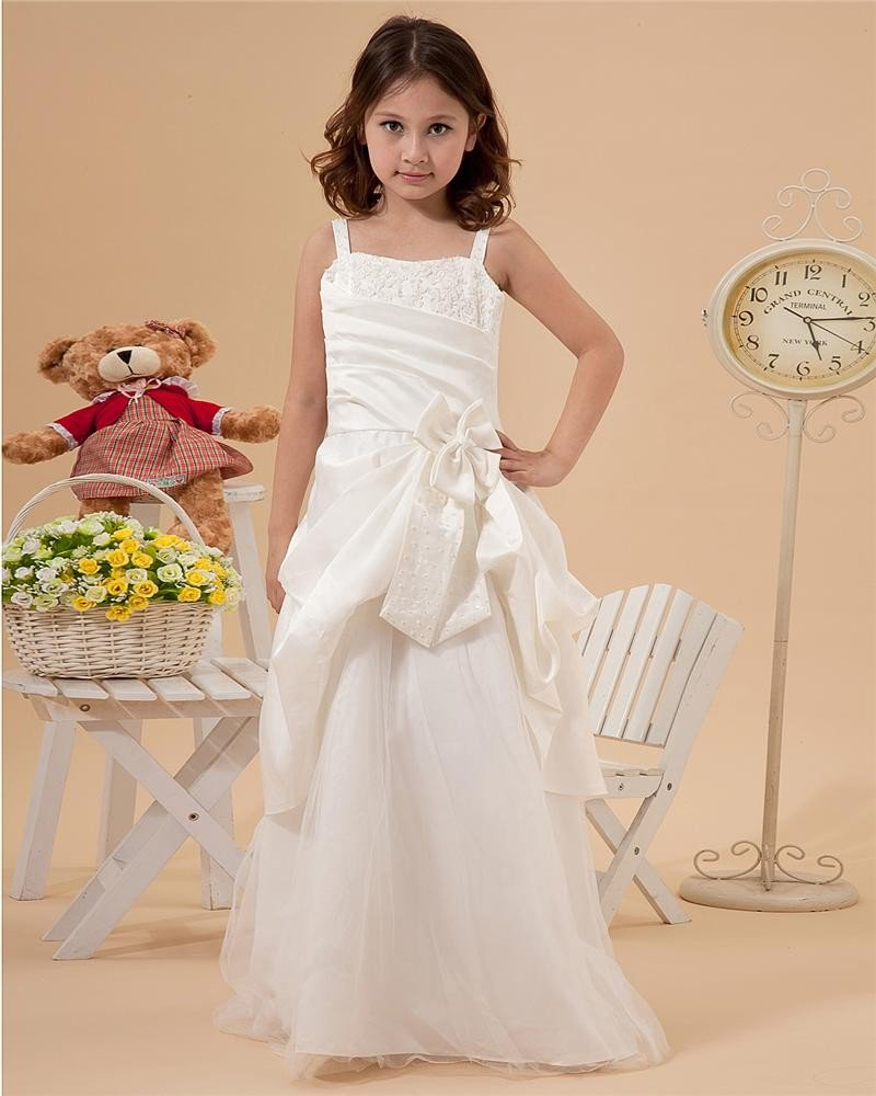 Satin Tulle Ruffle Spaghetti Strap Ankle Length Flower Girl Dresses 2214120052