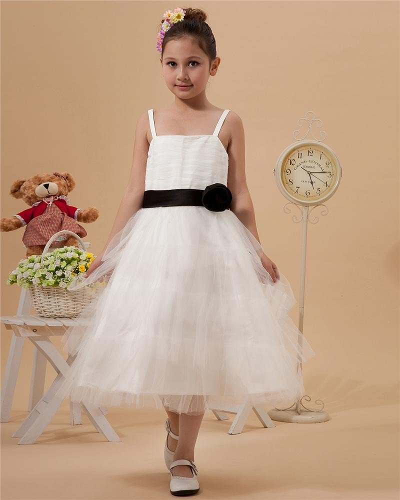 Satin Mesh Ruffle Sash Spaghetti Strap Tea Length Flower Girl Dresses 2214120049