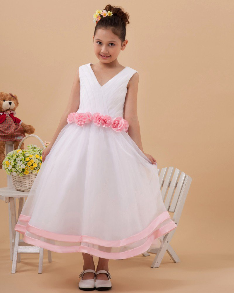 Beautiful V Neck Tulle Handmade Flower Girl Dresses 2214120011