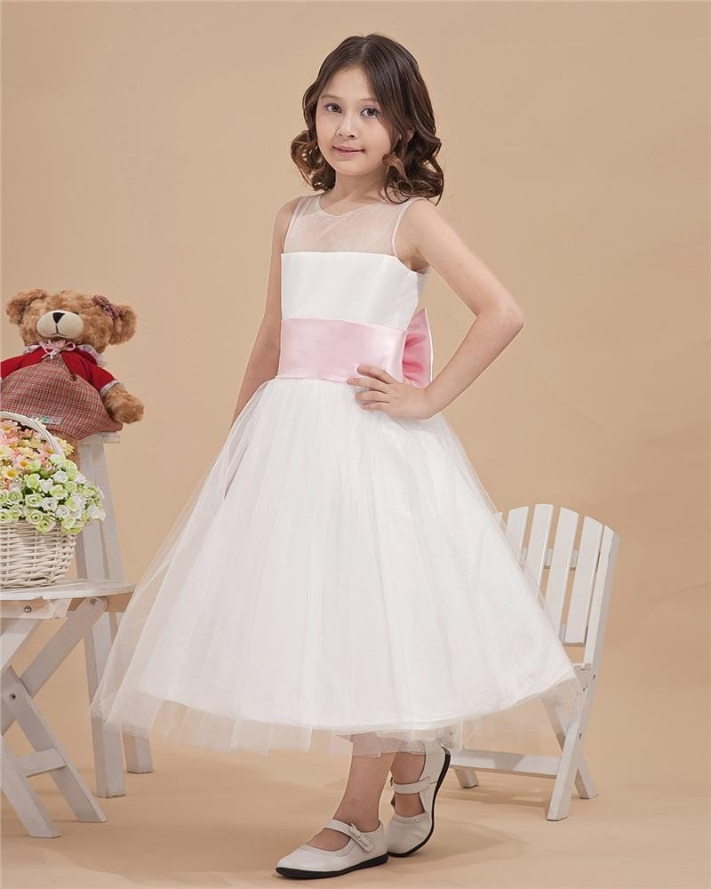 Satin Organza Bateau Tea Length Flower Girl Dresses 2214120059