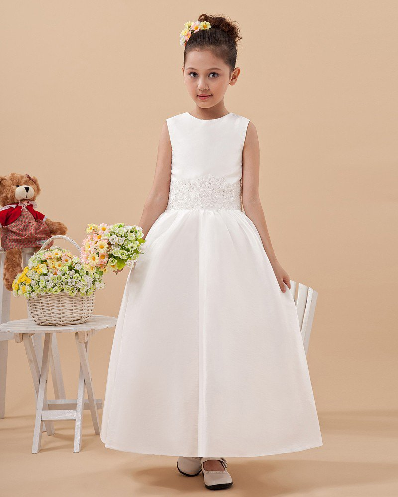 Satin Tulle Ruffle Workmanship Flower Girl Dresses 2214120067