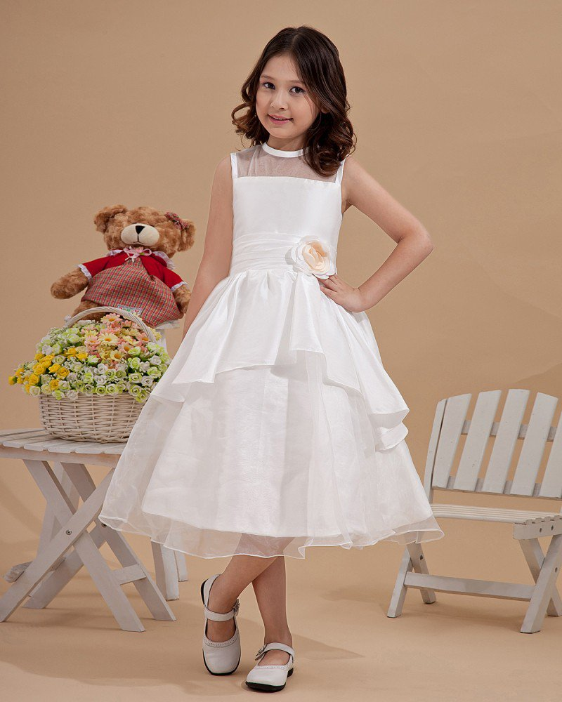 Satin Organza Applique Scoop-Neckline Sleeveless Tea-Length Flower Girl Dresses 2214120050