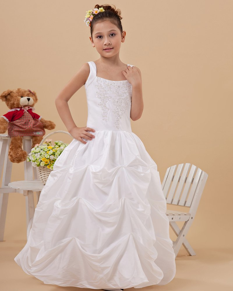 Fashion Ruffle Beading Square Neck Floor Length Taffeta Flower Girl Dresses 2214120027