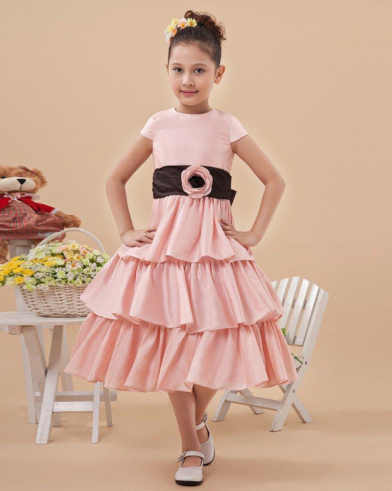 Satin Handmade Flowers Knee Length Flower Girl Dresses 2214120056