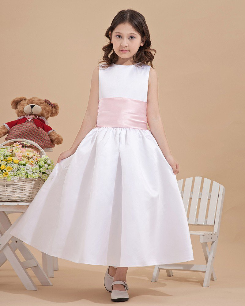 Satin Back Bowknot Decoration Flower Girl Dresses 2214120053