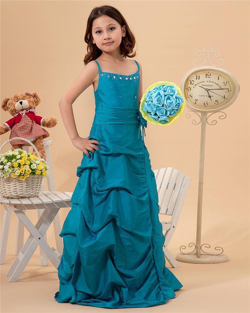 Cute Sheath Spaghetti Straps Floor Length Taffeta Flower Girl Dresses 2214120022
