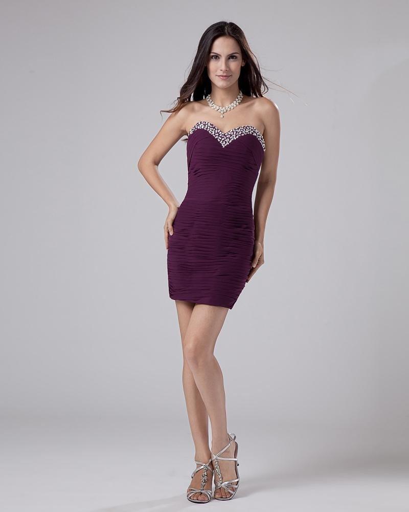 Sweetheart Elastic emulation silk Beading Thigh Length Graduation Dresses