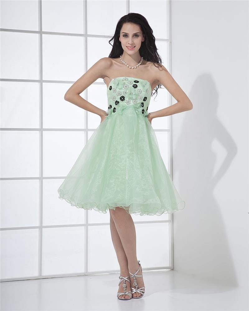Lovely Strapless Short Mini Riffles Beadings Applique Graduation Dresses