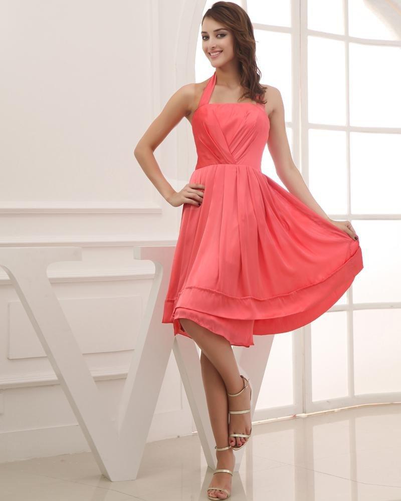 Fashion Satin Silk Like Satin Pleated Halter Sleeveless Knee Length Graduation Dress