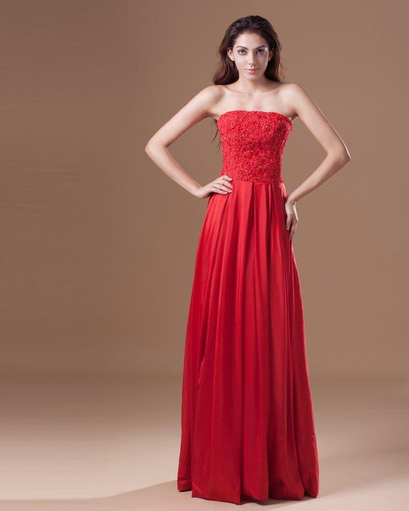 Taffeta Floor Length Applique Sequins Strapless Pleated Women Graduation Dress