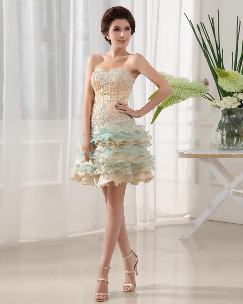 Silk like Satin Satin Yarn Applique Beading Sweetheart Sleeveless Backless Zipper Mini Tiered Homeco