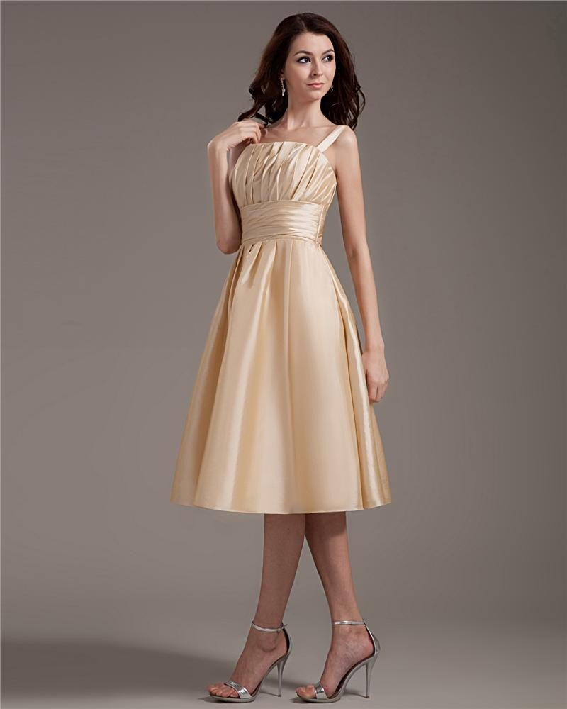 Satin Ruffles Shoulder Straps Knee Length Graduation Dress