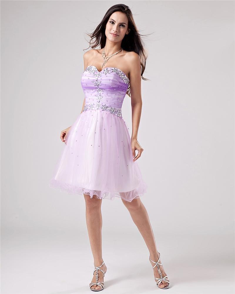 Short Mini Strapless Yarn Women's Graduation Dress