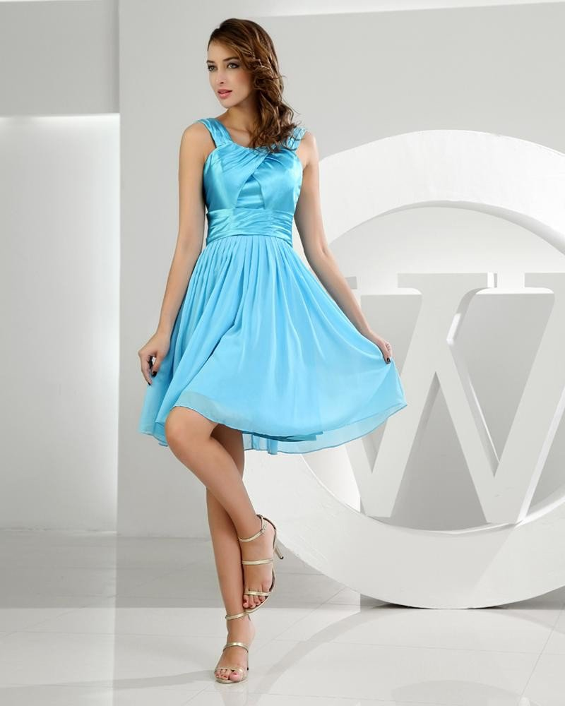 Spaghetti Zipper Sleeveless Knee Length Ruffle Chiffon Elastic Silk Like Satin Silk Woman Graduation