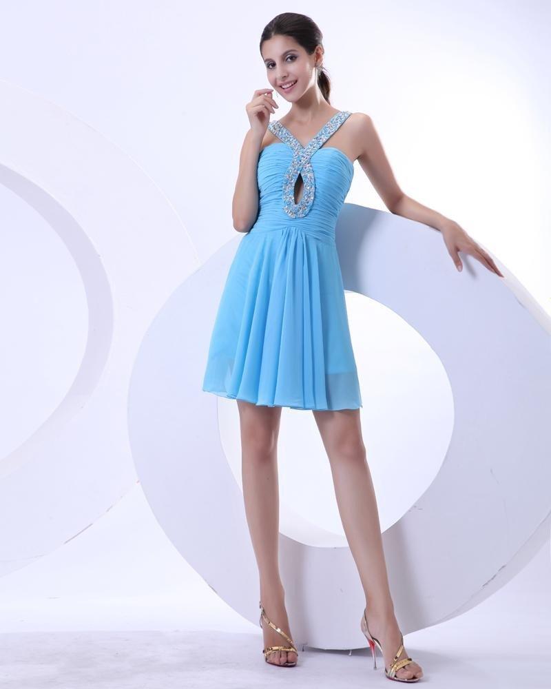 Chiffon Ruffle Halter Ankle Length Cheap Graduation Dresses