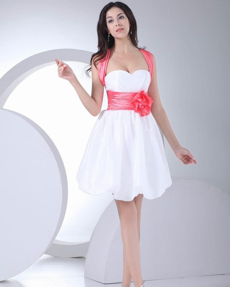 Fashion Silk Flower Bowknot Sweetheart Thigh Length Graduation Dress