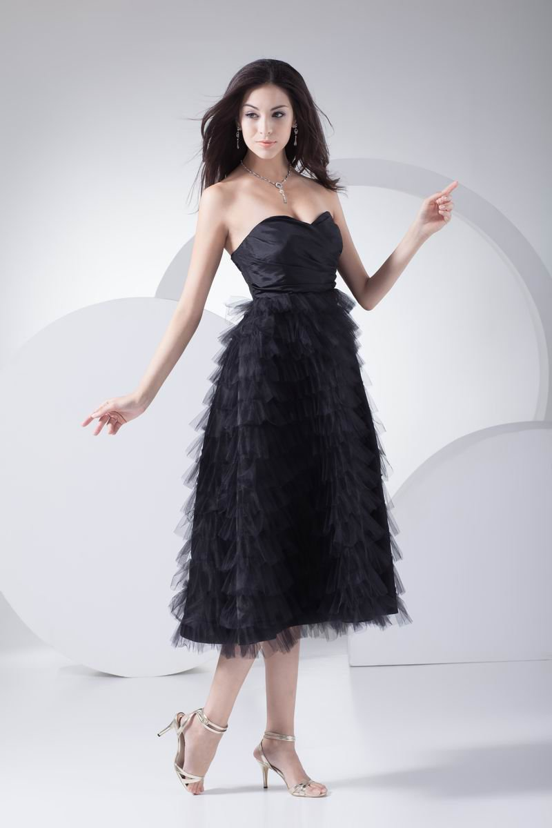 Fashion Tulle Pleated Ruffle Sweetheart Tea Length Graduation Dress