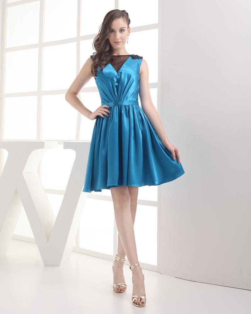 Jewel Thigh Length Beading Pleated Imitation Silk Tulle Women Graduation Dress